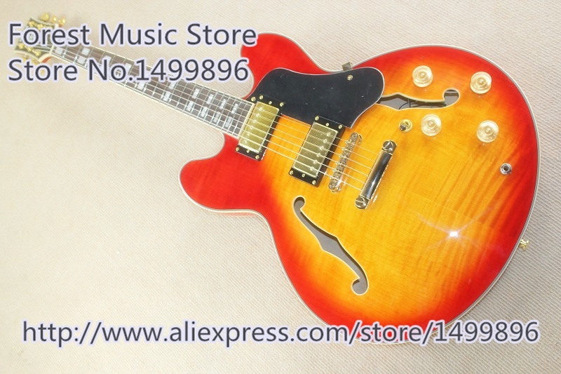 Hot Selling CS Cherry Sunburst Finish ES 335 Electric Guitars Hollow Maple Body In Stock форма для выпечки кварц диаметр 13 5 см