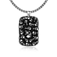 Men Sweater Long Chain Skull Statement Big Square Necklace Hip Hop Rock Punk Jewelry Biker Man