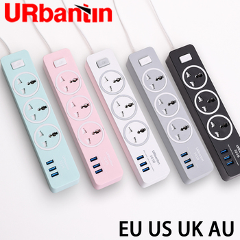 цена на Urbantin USB Power strip Smart plug Quick charge USB universal socket with EU UK AU US plug Multi plug Power strip