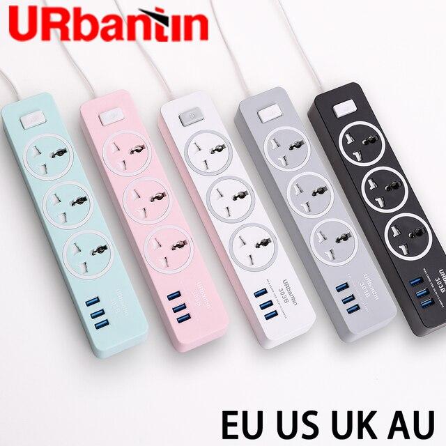 Urbantin USB Power strip Smart plug Quick charge USB universal socket with EU UK AU US plug Multi plug Power strip