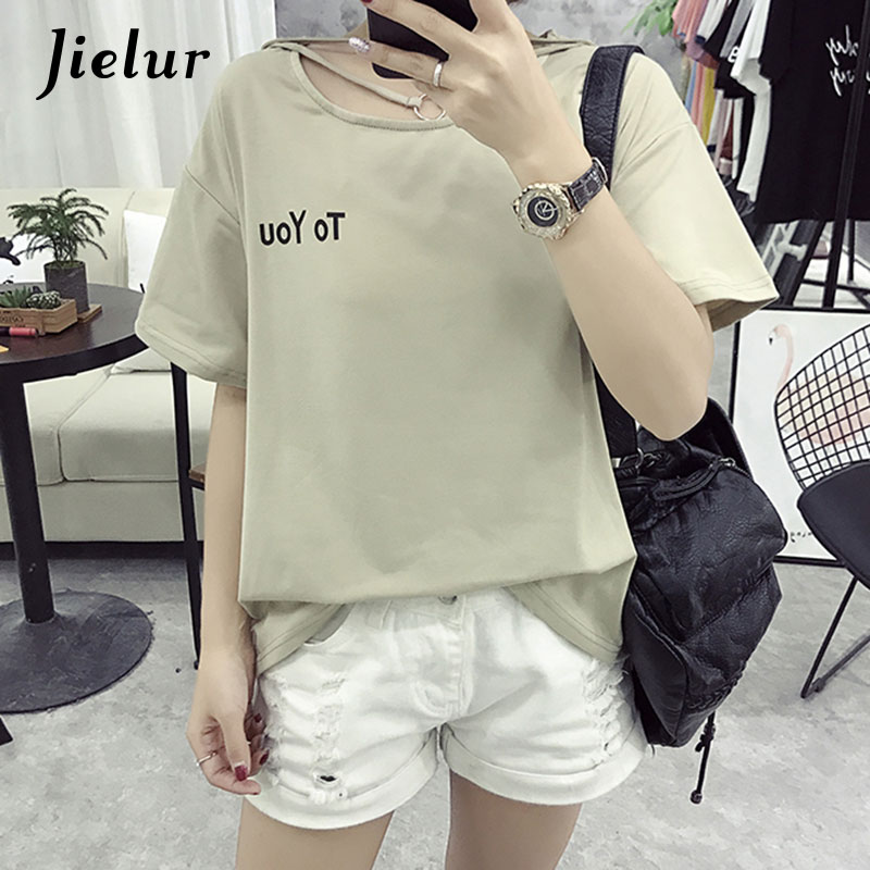 13f2b269f0050f Jielur Korean Fashion Hollow Summer Women s T shirts Letter Printed Loose  Short Sleeve Top Buckle Collar Female T shirt M XXL-in T-Shirts from  Women s ...