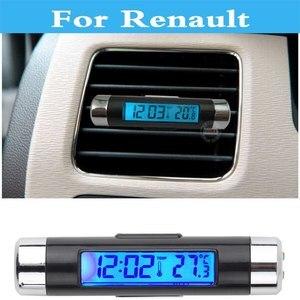Автомобильные цифровые ЖК-часы термометр календарь время часы для Renault Logan Megane Kwid Laguna Latitude Megane Rs Safrane Sandero