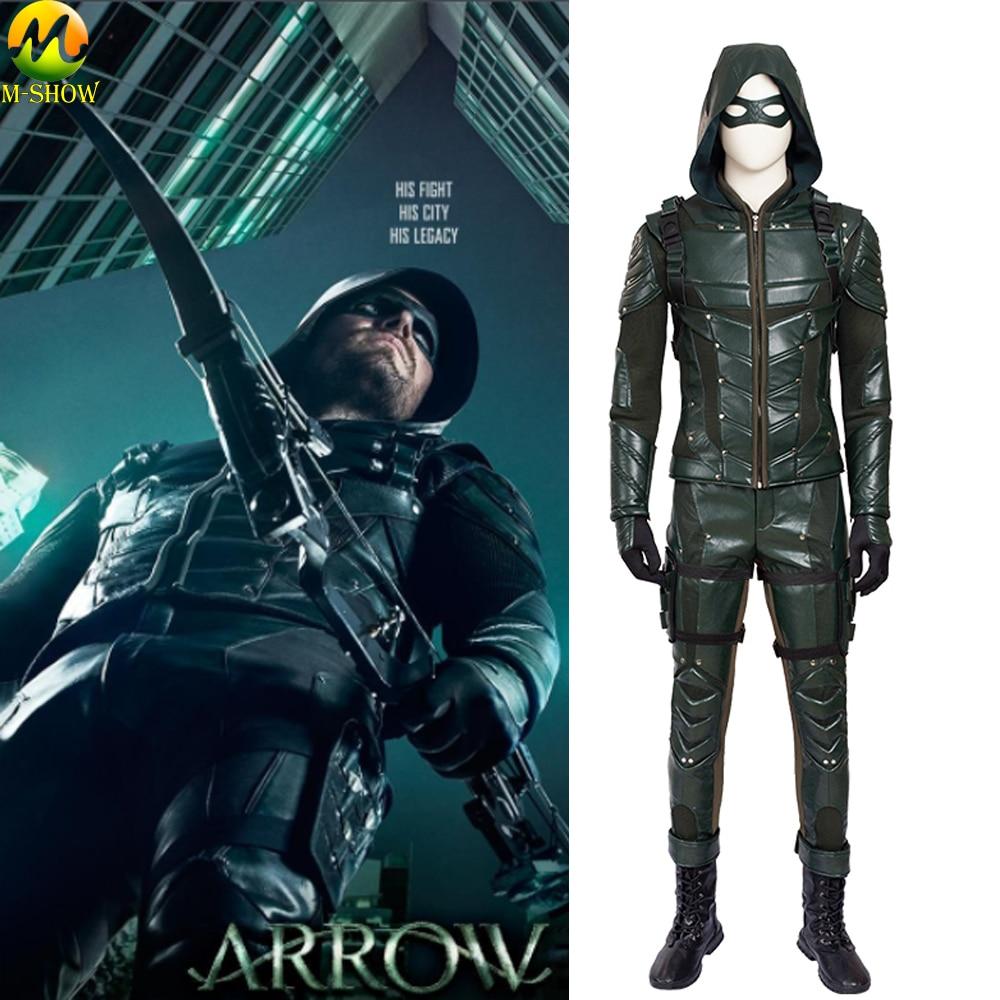 Green Arrow Season 5 Oliver Queen Cosplay Costume Arrow Cosplay Halloween Costume Men Leather Pantsfantasias adulto masculino