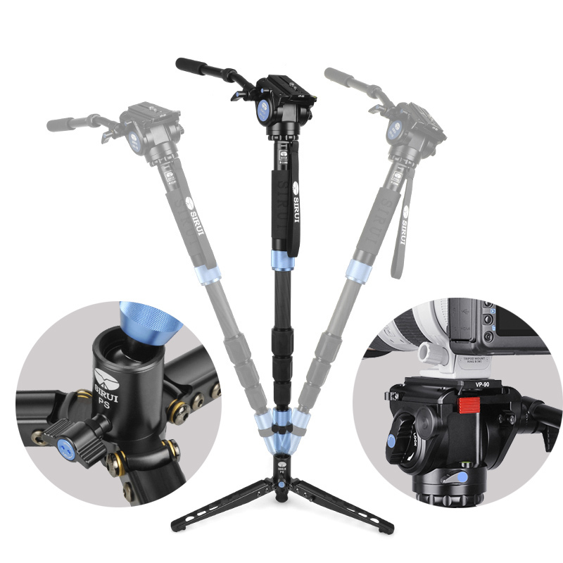 Sirui P-324S P324S Monopod Vh10 Hydraulic Head Portable Multi-Functional Carbon Fiber Tripod 4 Section Carrying Bag Load 10kg