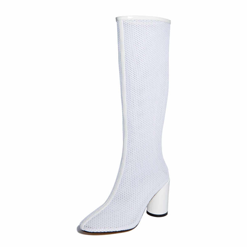 FEDONAS Mode Concise Hohl Frauen Mid-Kalb Stiefel 2019 Sommer Neue Runde Kappe High Heels Casual Schuhe Frau Partei grundlegende Schuhe