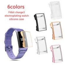 Nouveau 6 couleurs étui souple en ptu Silicone étui de protection transparent coque de protection pour Fitbit Charge 3 bandes montre intelligente protecteur décran