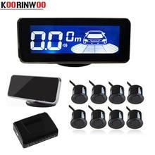 "Koorinwoo LCD תצוגת Parktronic רכב חניה חיישנים 8 מכ ""מים צליל אזעקה בדיקות רכב גלאי רכב חניה Parkmaster היפוך"