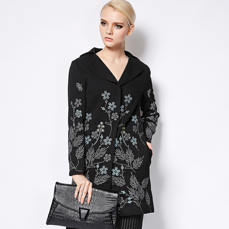Long Coat 2017 Autumn Winter New Fashion Good Womens Elegant Long Sleeve Small Flowers Embroidery Black Long Jakcet
