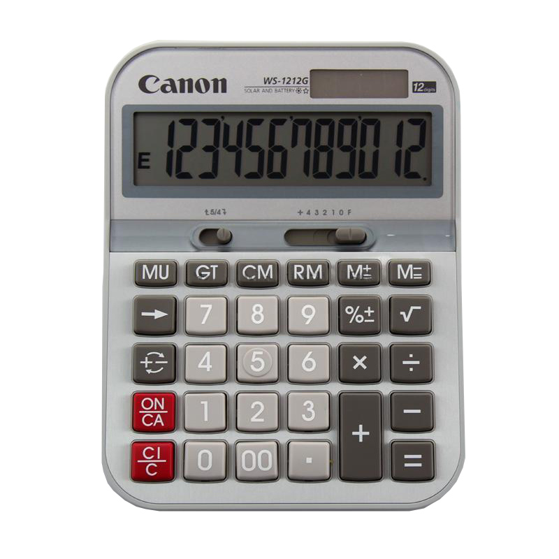 1 Piece Canon WS-1212G Financial Business Office Calculator Solar Metal Panel Medium Computer 1 piece canon as 120 genuine curved body design classic 12 big screen calculator authentic free shipping