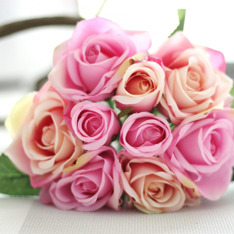 1 Bunch Silk Artificial Flower Dark Pink Rose For Wedding Public