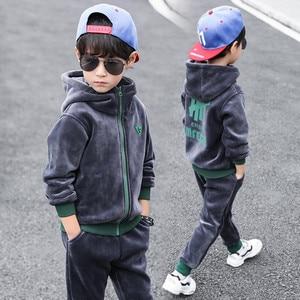 Image 2 - Boys Autumn Winter Sports Suit Children Clothing set Girls Thick Velvet Hoodies+Pants 2PCS Kids Tracksuit 3 10Y Sweatsuit