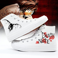 The Death Note Shoes Men High Top Canvas Shoes Woman Sneakers Off White Women Shoes Anime Casual Plimsolls