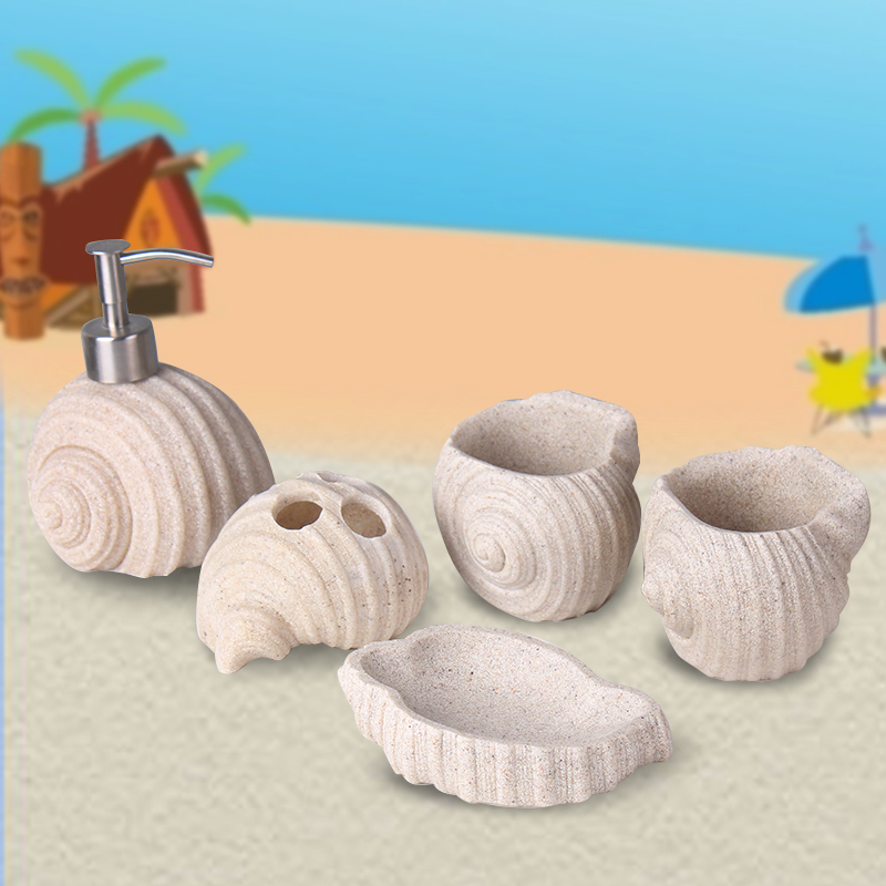 Creative Conch Sandstone Bathroom Set of five Bathroom Toilet Set Bathroom Amenities Kit Brush Cup Cup LO87414 conch beach 3pcs antiskid flannel toilet mat set