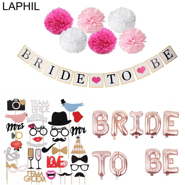 laphil team bride to be balloons just married banner wedding decoration bridal shower photobooth bachelorette party