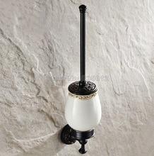Черный Масло Втирают Бронзовый Настенные Туалет Щетки Щетки + Керамическая Чашка Wba477