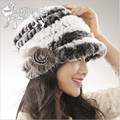 2016 New Trend Fur Hats for Women Knit Genuine Rex Rabbit Fur Cap Flower Stripe Interval Fashion Handweaving Women's Winter Hat