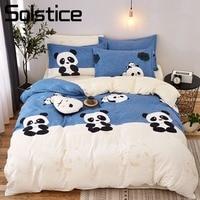 Solstice Home Textile Duvet Cover Pillow Case Flat Sheet Panda Cartoon Bedding Set Kid Boy Teen Girl Bed Linens Twin Full 3/4Pcs