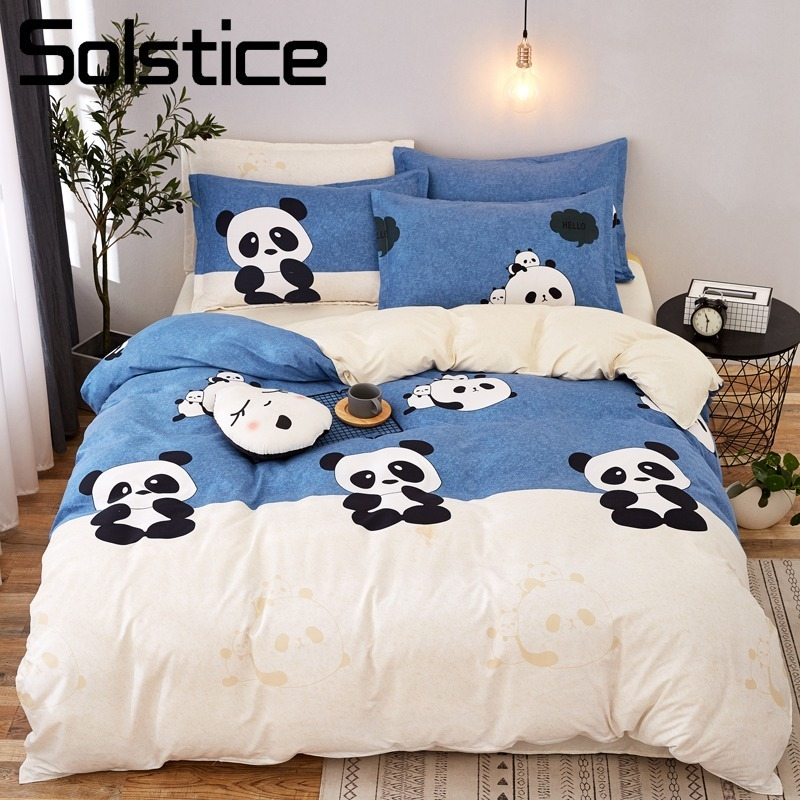 Solstice Home Textile Duvet Cover Pillow Case Flat Sheet Panda Cartoon Bedding Set Kid Boy Teen Girl Bed Linens Twin Full 3/4Pcs