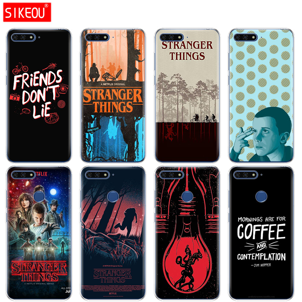 <font><b>Silicone</b></font> Cover Phone <font><b>Case</b></font> For <font><b>Huawei</b></font> Honor 7A PRO 7C Y5 Y6 <font><b>Y7</b></font> Y9 2017 <font><b>2018</b></font> Prime stranger things image