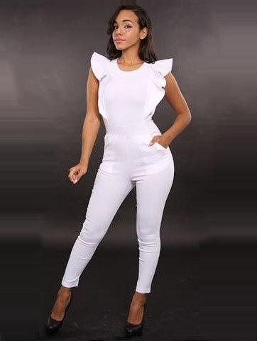 Бесплатная доставка новая мода 2016 boho sexy back молнии корсеты bodycon стиль лодыжки длина оборками рукавом женская комбинезоны k18