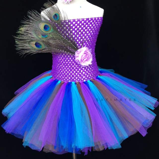 b15dca511 placeholder New Girls Peacock Feather Tutu Dress Baby Fluffy Crochet Tulle  Tutus Ball Gown with Flower Headband