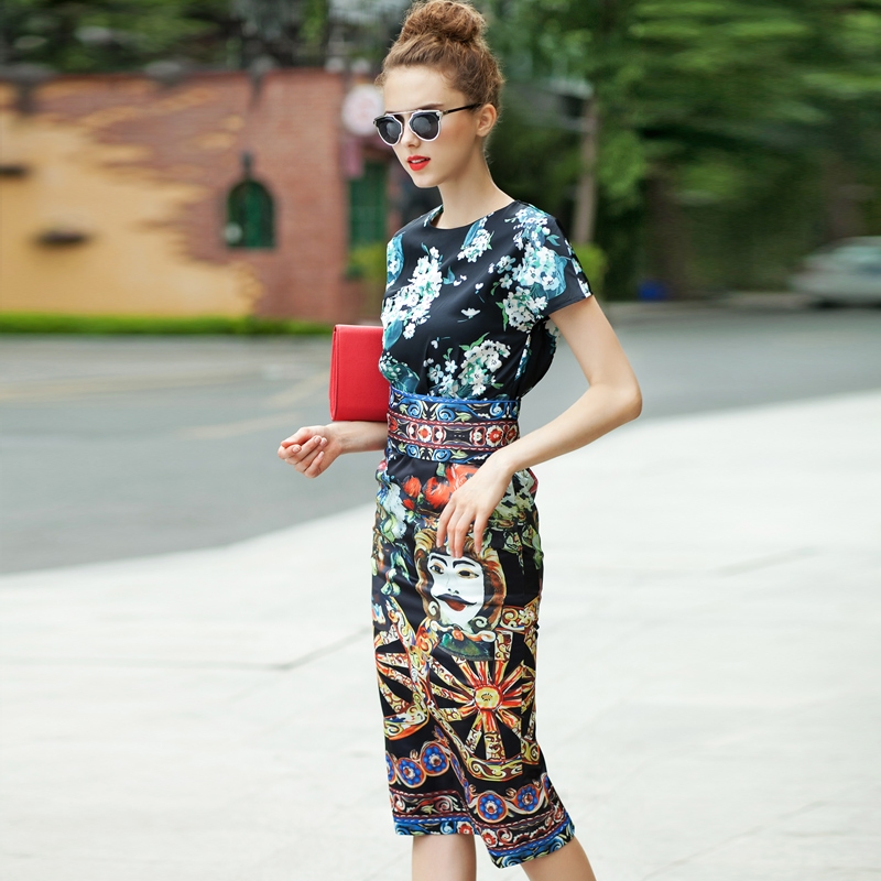 2017 Summer Style Women Dress High Quality Fashion Runway Dresses Short Sleeve Knee Length Baroque Print Vintage Retro Dresses