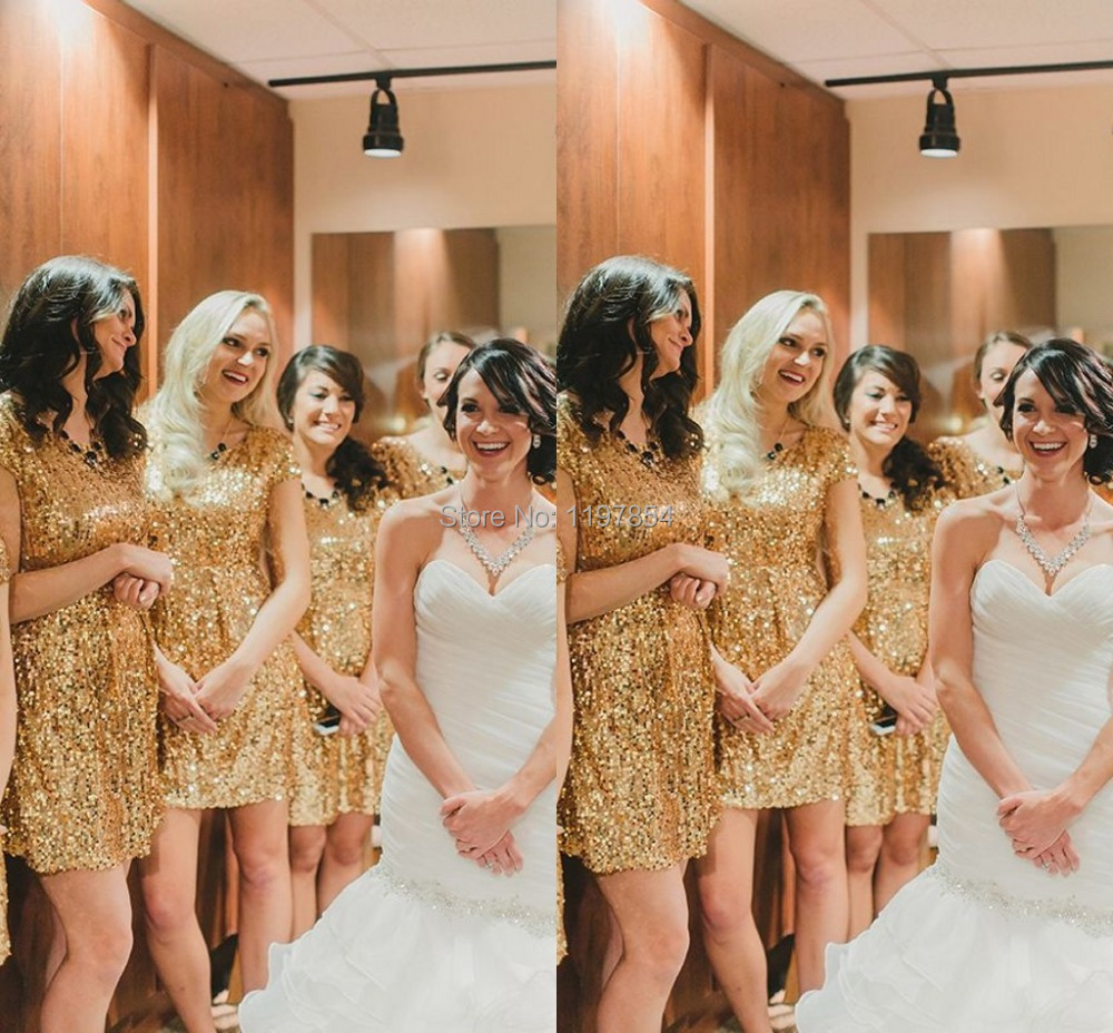 Short sequin bridesmaid dresses good dresses online shop sparkly sequin lace bridesmaid dress a line scoop short sleeves knee length short bridesmaid ombrellifo Image collections