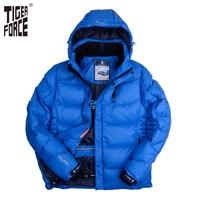 TIGER FORCE Men Winter Jacket Fashion Padded Cotton Coat Parka Brand Winter Thick Polyester Jacket European