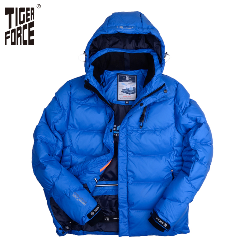 TIGER FORCE Men Winter Jacket Fashion Padded Cotton Coat Parka Brand Winter Thick Polyester Jacket European