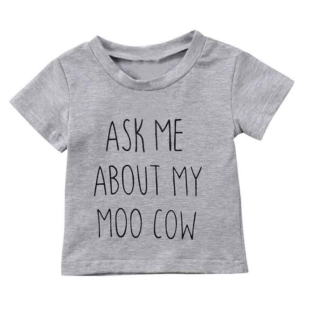 Summer Funny Children Clothing Boys Tshirt Ask me about My Moo Cow Letter Kids Tops Short Sleeves T-shirts Baby Clothes tshirt