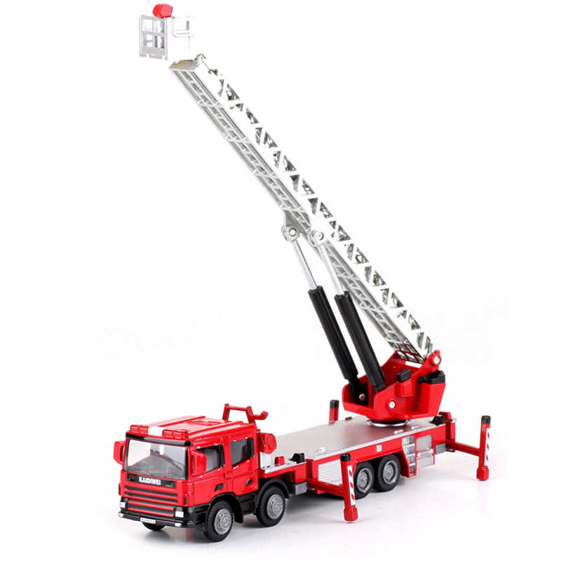 KDW Engineering Ladder Fire Lift Simulation Truck 1:50 Alloy Diecast  Children's Toys Collection Ornaments Christmas Gifts Model
