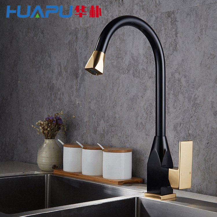 Vertical Faucet Kitchen Hot and Cold Sink Mixer Space Aluminum Brushed Water Faucet Tap for Kitchen
