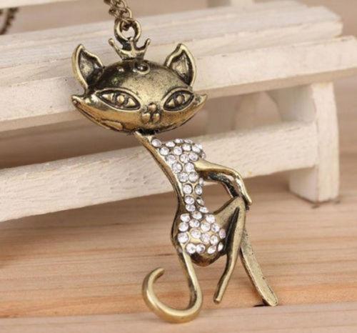 Cat Girl Rhinestone Crystal Necklace