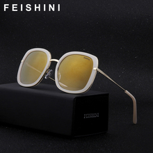 FEISHINI Festival UV400 GOLD Gradient Square Sunglasses Ladies Mirror 2018 Fashion High Quality Anti-Reflective Women Glasses