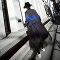 Street Wear Women Spell Color Mosaic Stripe Mesh Patchwork Design Loose Long Coat Hipster Women Coat