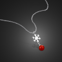 women fashion necklace Snowflake Red Ball Necklace Solid 925 Sterling Silver pendant Choker Silver Woman Jewelry Holiday gifts