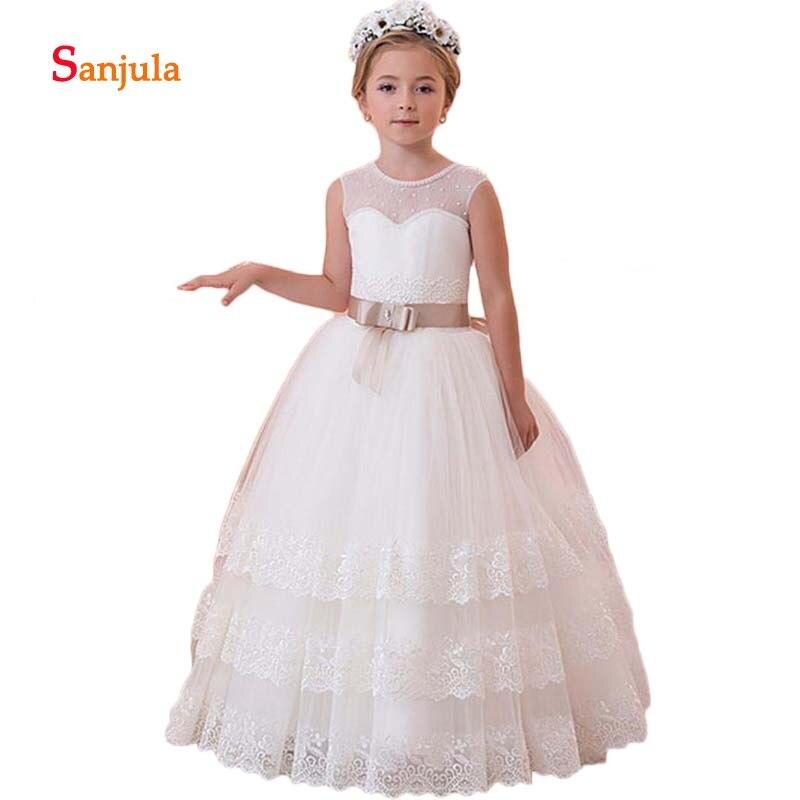 Tiers Skirt   Girls   Brithday Party   Dresses   Illusion O-Neck Lace   Flower     Girls     Dresses   Bow Waist Children Fist Communion   Dresses   D80