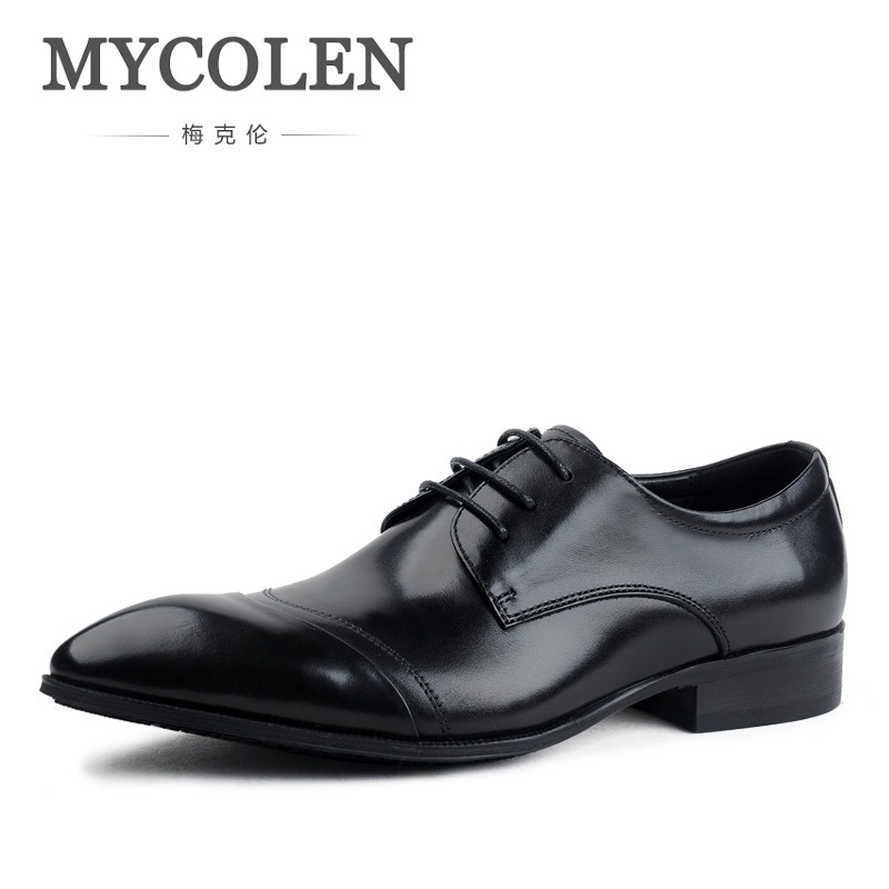 MYCOLEN Fashion Men's Dress Shoes Pointed Toe Lace Up Oxfords For Man Leather Oxford Men Business Shoes Office Formal Shoe british fashion men business office formal dress breathable genuine leather shoes lace up oxford shoe pointed toe teenage sapato