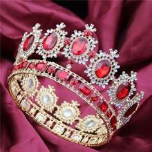 ขนาดใหญ่ Queen King ประกวดมงกุฎสำหรับงานแต่งงาน Tiaras และ Crowns คริสตัล Rhinestone มงกุฎเจ้าสาว Headdress เครื่องประดับผม