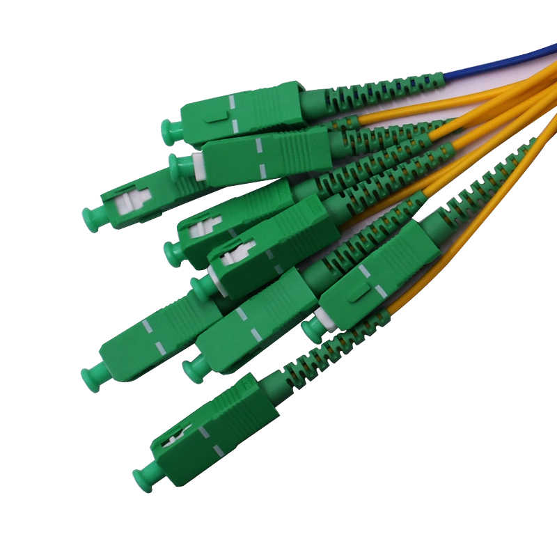 شحن مجاني ABS صندوق الألياف مقسم PLC للألياف الضوئية 1x8 SC/APC موصل 2.0 مللي متر 1 متر