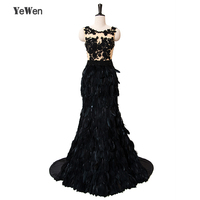 Sexy Feather Lace Long Elegant Mermaid Prom Dresses 2016 Evening Dress For Prom Festa Vestidos De