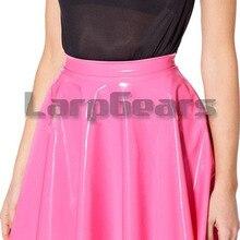 ТРАПЕЦИЕВИДНОЕ розовое латексное мини-платье Милая Сексуальная юбка для девочек