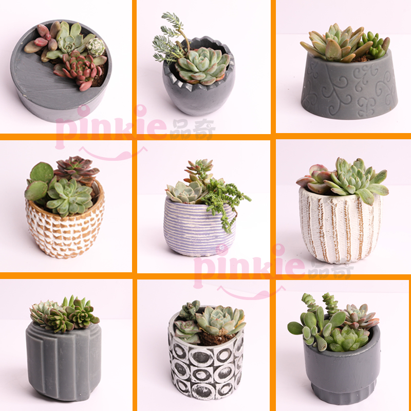 Many Kinds Of Cement Succulent Flower Pot Mold  Cement Pot Silicone Mold Geometric Gypsum Concrete Pot Mold