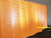 Luxury Gold Colour Wedding Backdrop with U Shape Pleated Design