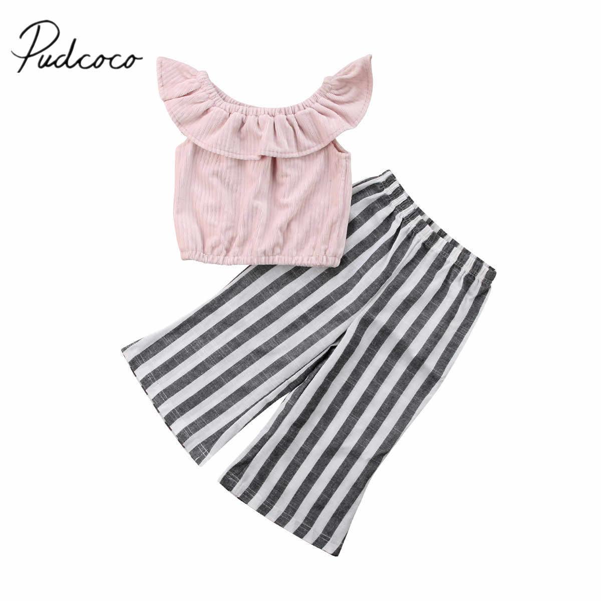 1ec5c4d2c7672 2018 Brand New Toddler Infant Child Stripes Kid Baby Girl Off Shoulder Crop  Tops Wide Leg