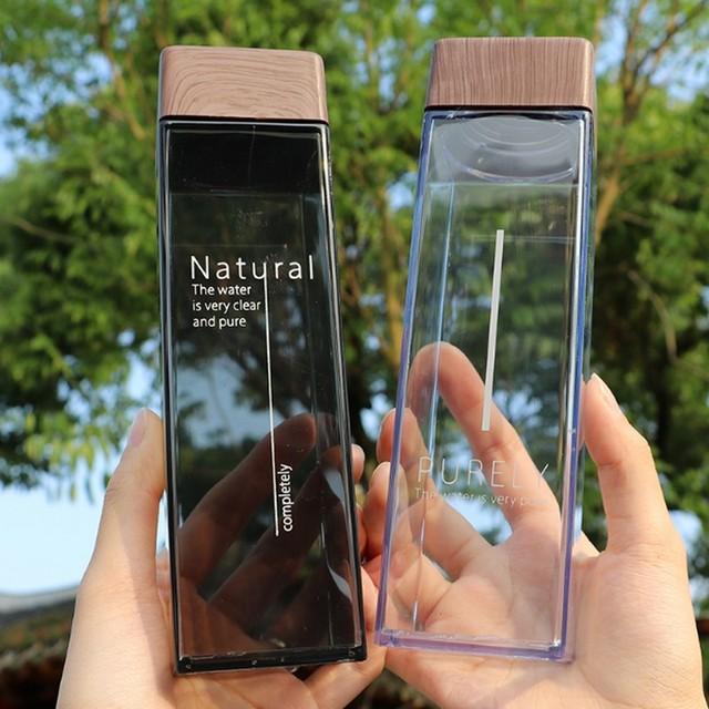 2018 New 500ML Fashion Water Bottle Square Shape With Wooden Lid Plastic Sport Bottle Lady Kids Unbreakable Kettle 4 Colors 1