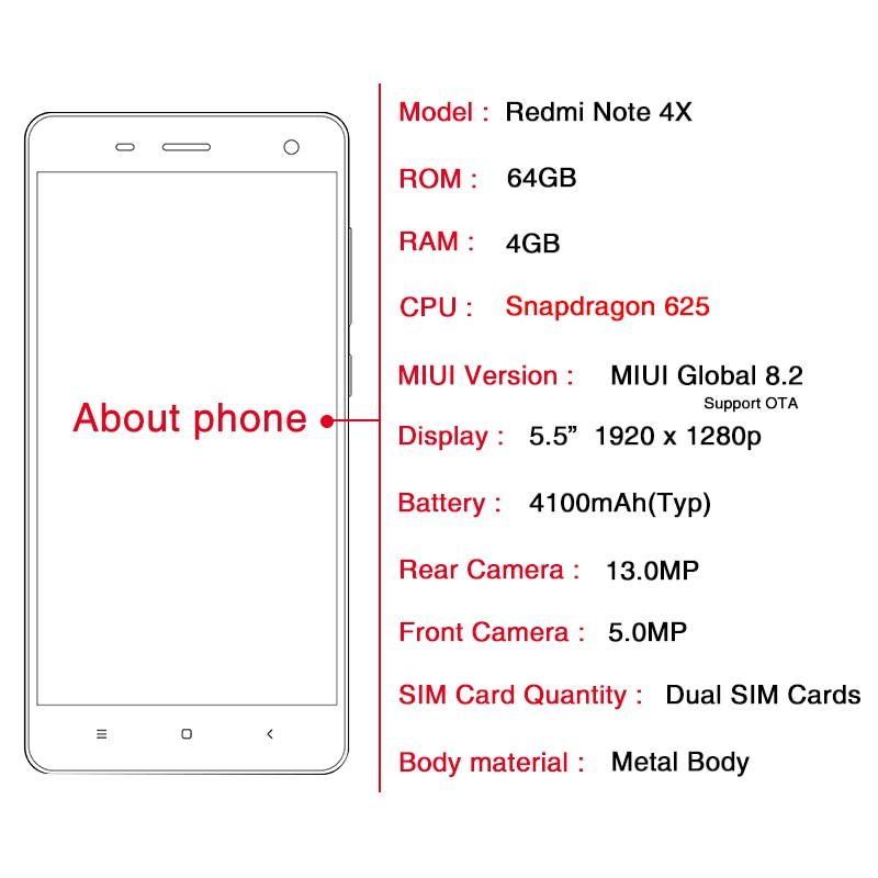 Original Xiaomi Redmi Note 4X 4GB 64GB Snapdragon 625 Octa Core CPU 4G Mobile Phone 4 X 130MP 55 FHD Fingerprint ID In Phones From Cellphones