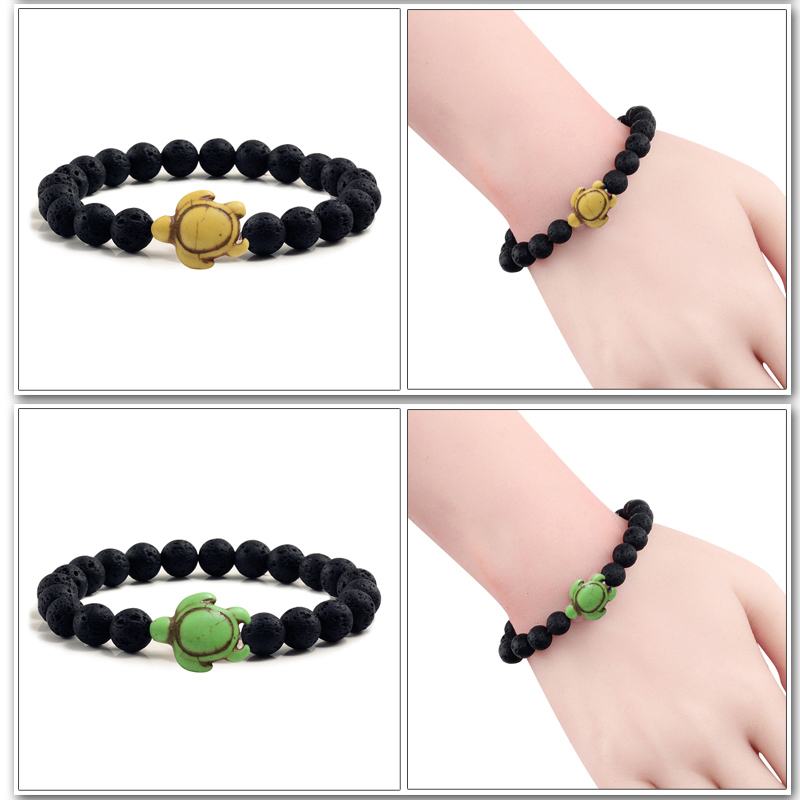 Summer Beach Sea Turtle Beads Bracelet for Men Charm Black Lava Natural Stone Strand Bracelets Elastic Women Boho Jewelry Gifts 4
