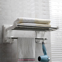 40cm Long Suction Cup Towel Bars Stainless Steel Bath Towels Rod Rack Home Bathroom Storage Organization Easy Installation