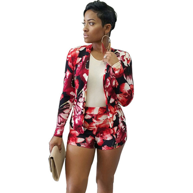 2016 New Arrival Red Floral Print Blazer + Shorts 2-Piece Set European and American Style Autumn Casual Suit Set